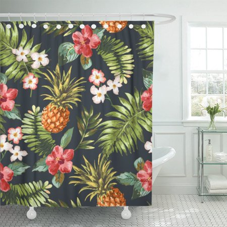 PKNMT Watercolor Floral Vintage Tropical Flowers Pineapple Pattern Blue Hawaiian Polyester Shower Curtain 60x72 inches ()