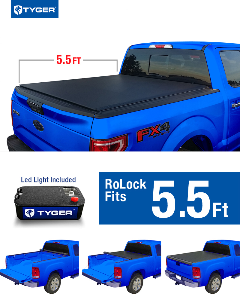Tyger Auto Tg Bcf Low Profile Roll Up Truck Bed Tonneau Cover Works With
