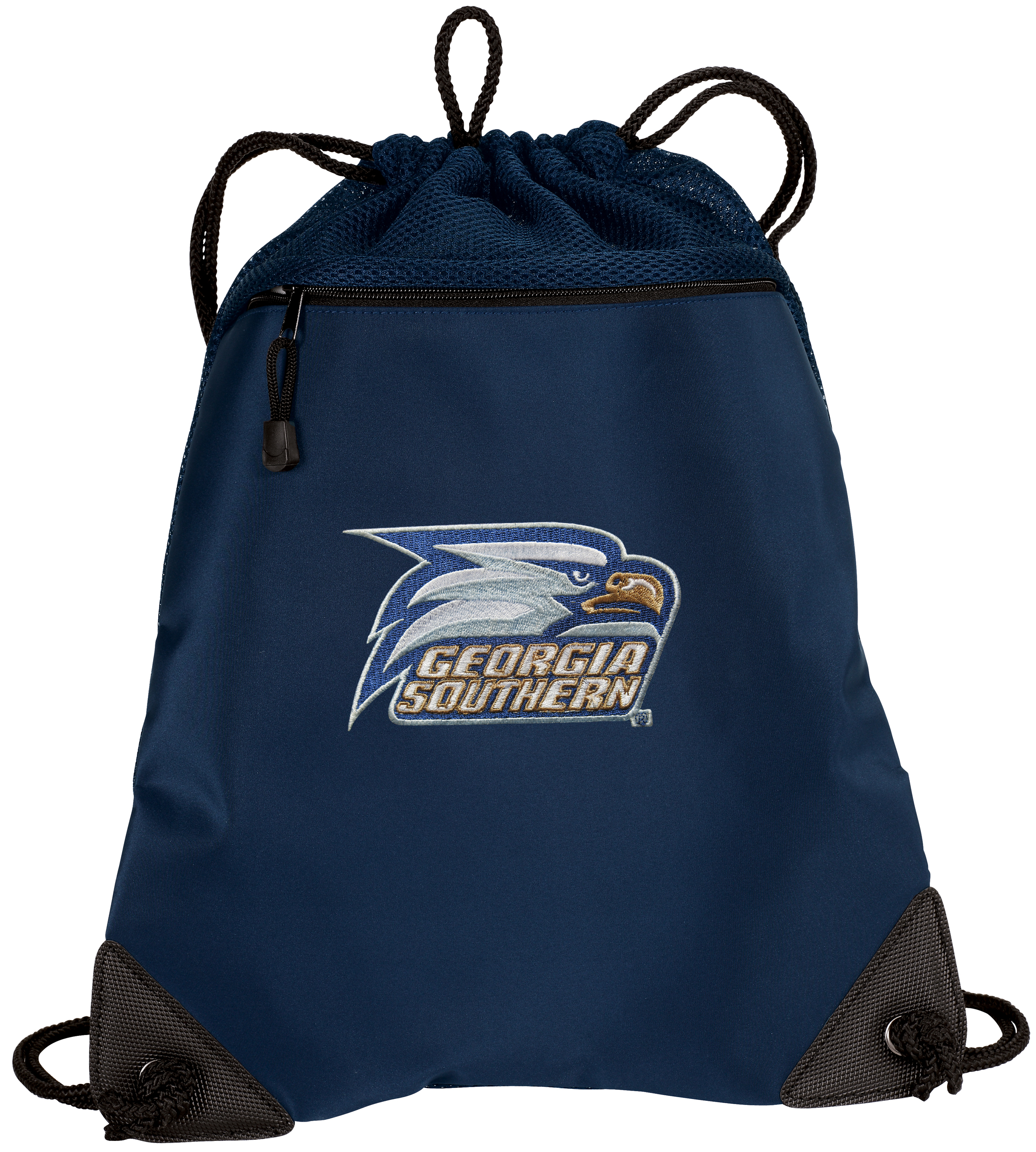 Georgia Southern Cinch Pack Backpack TWO SECTION Georgia Southern Eagles Drawstring Bag with Unique Mesh & Microfiber Sections