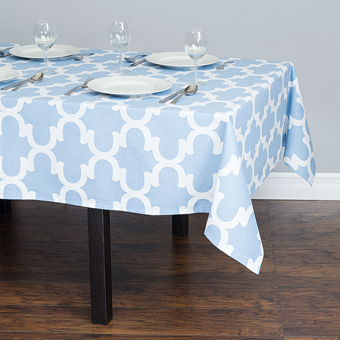 60 x 84 in. Trellis Rectangular Cotton Tablecloth Powder Blue & White by