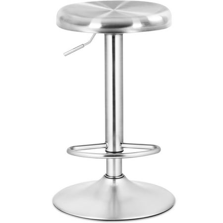 Costway Brushed Stainless Steel Swivel Bar Stool Seat Adjustable Height Round Top - Bar Height Stainless Steel Top