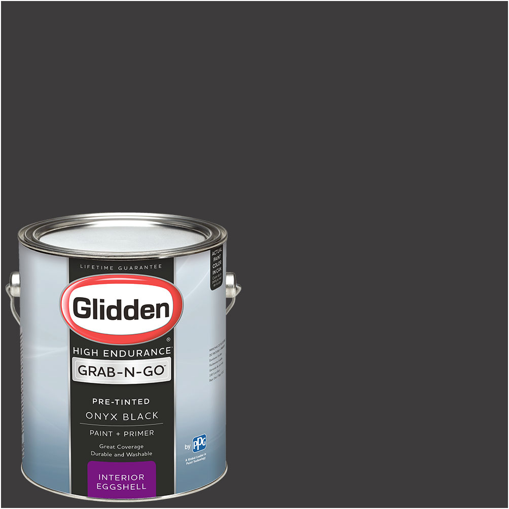 Glidden High Endurance Grab-N-Go, Interior Paint and Primer, Eggshell Finish, Onyx Black, 1 Gallon