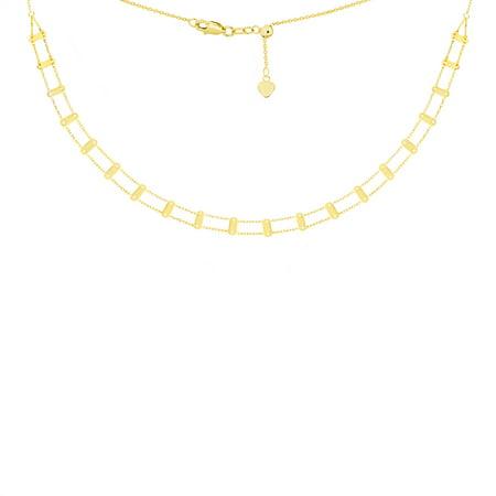 "14K Yellow Gold Railroad Style Bar Choker Necklace. Adjustable 10""-16"""