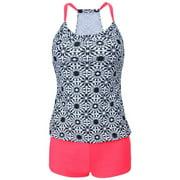 Two Piece Swimsuit Set With Boyleg Swim Short Cover Ups Bathing Suit Bikini Swimsuit Sport Suit For Lady Teens Girls (XXL, Pink), Fabric: 82%.., By Eleoption,USA