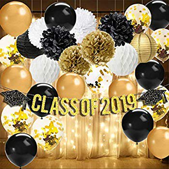 Graduation Decorations 2019-Class of 2019 Banner,Battery Powered LED String Lights Starry String Light,Tissue Pom Poms,Paper Lanterns,Black/Gold/Gold Confetti Balloons Graduation Party Supplies 2019 ()