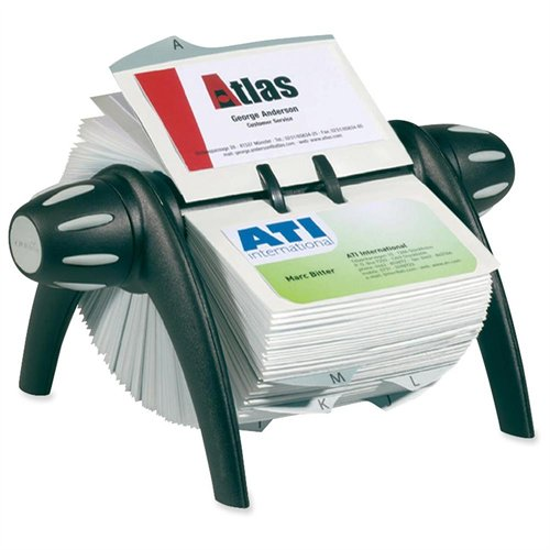 Visifix Flip Rotary Business Card File - 200 Card - 25 Printed A-z - Black (241701)