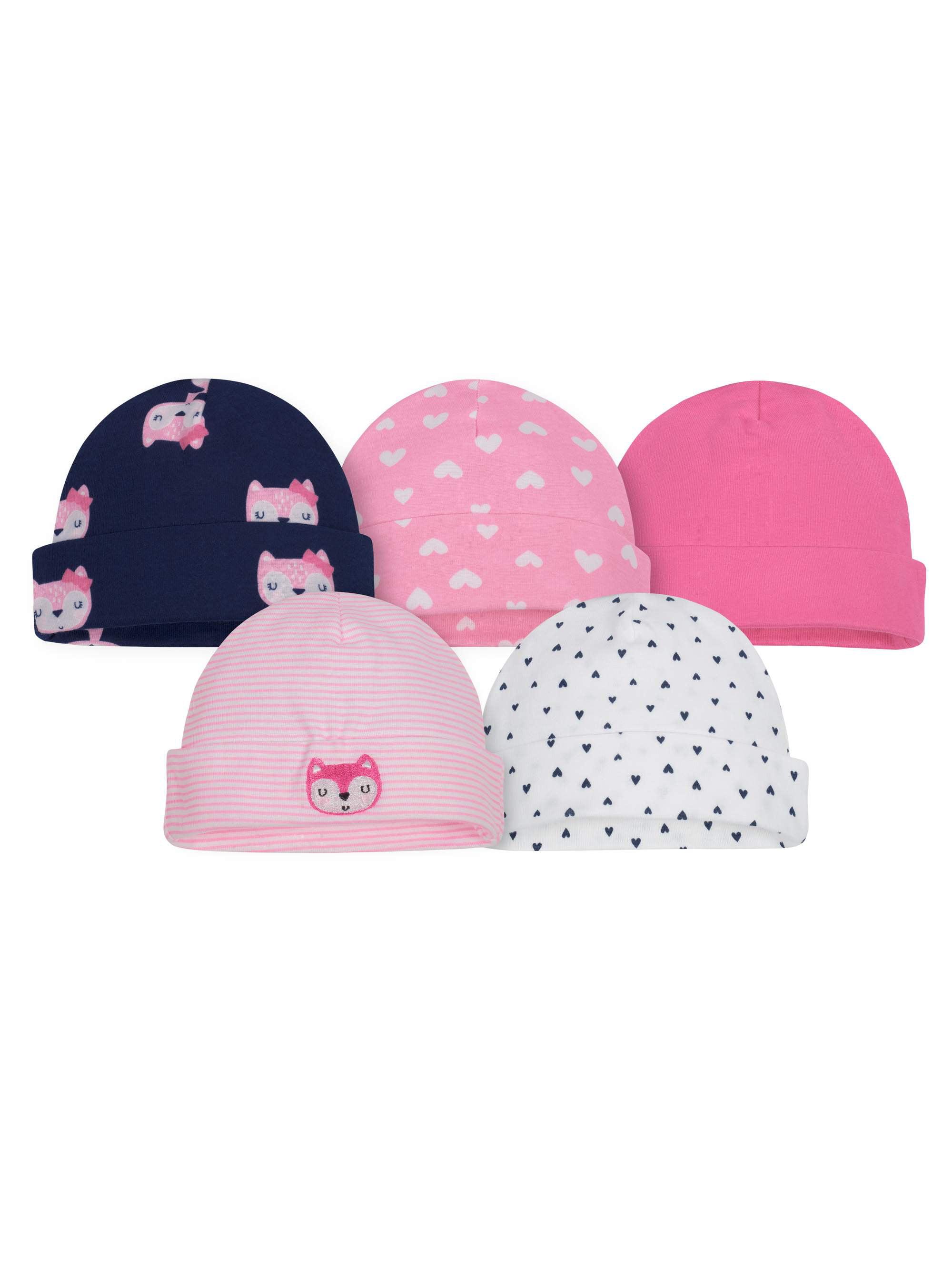 Live Love Soccer 5 Skull Caps Baby Girls Pink