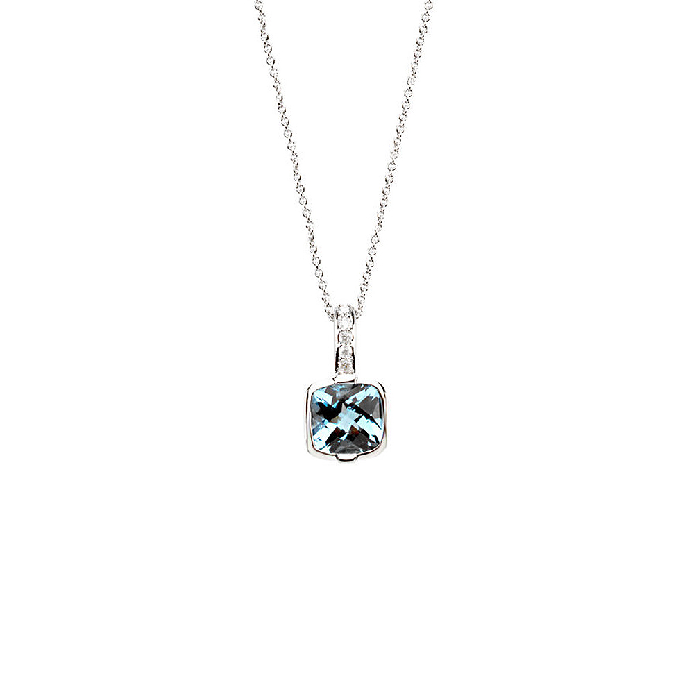 Cushion Swiss Blue Topaz & Diamond 14k White Gold Necklace, 18 Inch by Black Bow Jewelry Company
