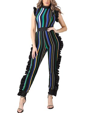 608c9c16c Product Image Womens Multi Striped with feminine Ruffle Detail Fashion  Jumpsuit NJ4400-S-Green Multi