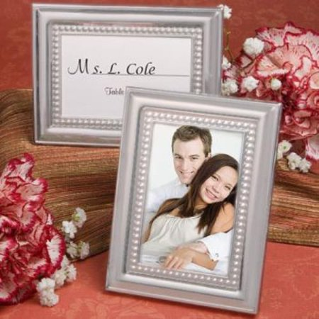 Silver Resin Place Card Frame - Matte Silver Metal Place Card/Photo Frames   pack of 60