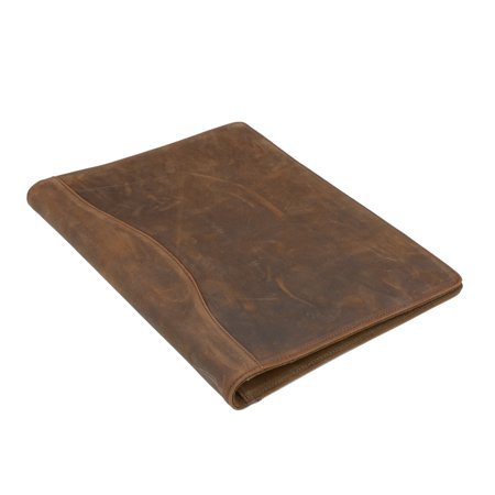 Horse Bender (iCarryAlls Vintage Crazy Horse Leather Padfolio, with 3-Ring Binder for Letter-Size / A4 Notepad and Documents )