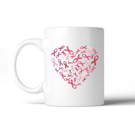 Pink Ribbon Heart Breast Cancer Mug White Ceramic Coffee Mug Gifts ()