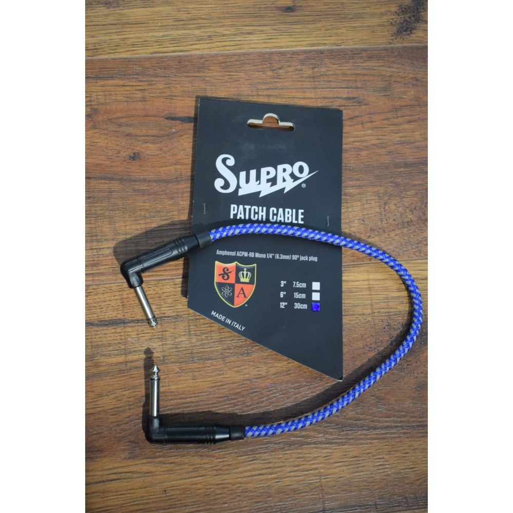 Supro USA CY-10 10/' Guitar Bass Instrument Right Angle Cable Blue