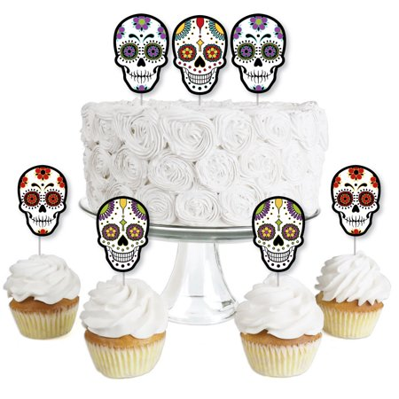 Day Of The Dead - Dessert Cupcake Toppers - Halloween Sugar Skull Party Clear Treat Picks - Set of 24 - Halloween Cutouts For Cupcakes
