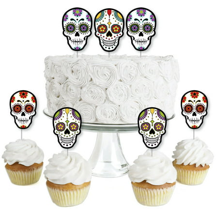 Day Of The Dead - Dessert Cupcake Toppers - Halloween Sugar Skull Party Clear Treat Picks - Set of 24](Skull Halloween Punch Bowl Set)