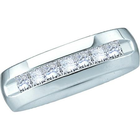 14k Mens Diamond Rings - 14kt White Gold Mens Natural Princess Diamond Band Wedding Anniversary Ring (1.50 cttw.) size- 10.5
