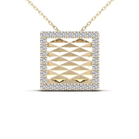 aaXia 10K Yellow Gold 1/10ct TDW Diamond Square Pendant Necklace (Yellow Gold Diamond Square Pendant)