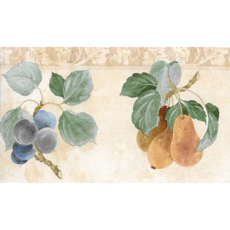 Prepasted Wallpaper Border - Fruits Green, Beige, Brown, Red, Blue Apple, Pear, Plum, Cherry Wall Border Retro Design, 15 ft x 7 in (4.57m x 17.78cm) - image 5 de 5