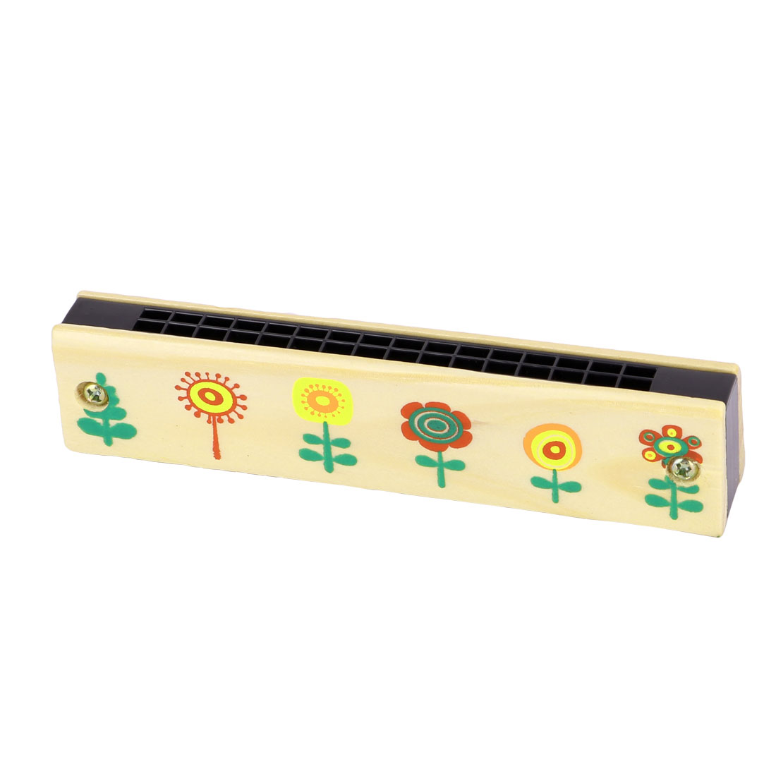 Unique BargainsWooden Flower Pattern Early Education Dual Rows Harmonica Musical Instrument - image 3 of 3