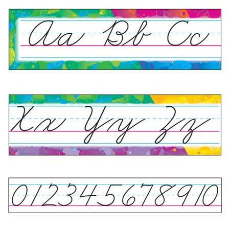 TREND enterprises, Inc. Color Splash Alphabet Line Zaner-Bloser Cursive Bulletin Board Set