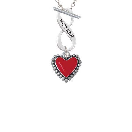 Red Heart with Beaded Border Mother Infinity Toggle Chain Necklace
