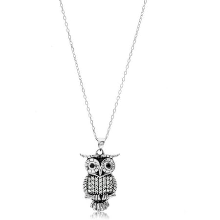 Sterling Silver Owl (Sterling Silver Cubic Zirconia Owl Necklace)