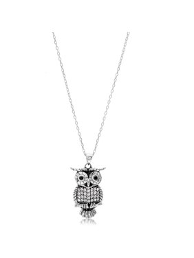 f37c86173c2 Sold   shipped by Overstock. Product Image Sterling Silver Cubic Zirconia  Owl Necklace