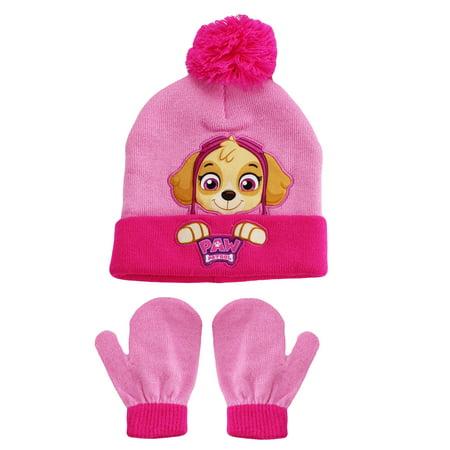 PAW Patrol Skye Nickelodeon Winer Hat and Mitten Set Pink Toddler Girls 2T-4T for $<!---->
