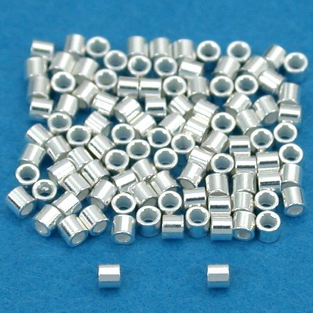 Sterling Silver Crimp Beads - 100 Sterling Silver Crimp Beads Ultra Micro 1mmx1mm