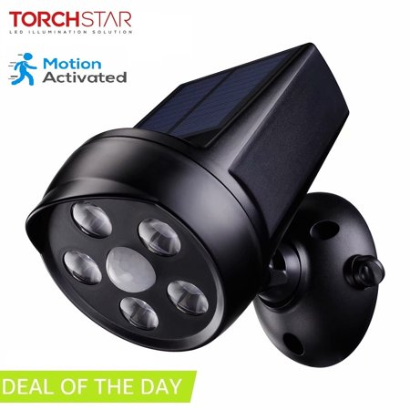 TORCHSTAR Outdoor LED Solar Motion Lights, Solar Security Lights, Black