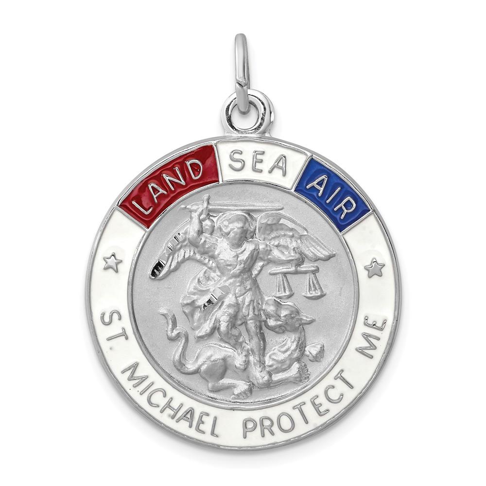Sterling Silver Engravable Enameled Satin Saint Michael Medal