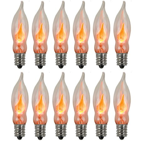 Holiday Joy - Flicker Flame Crystal Clear Flame Tip Candelabra Replacement Bulbs - Great for Electric Window Candle Lamps - CA5 - E12-1 Watt - 120 Volts (12 Pack) 12 Pack