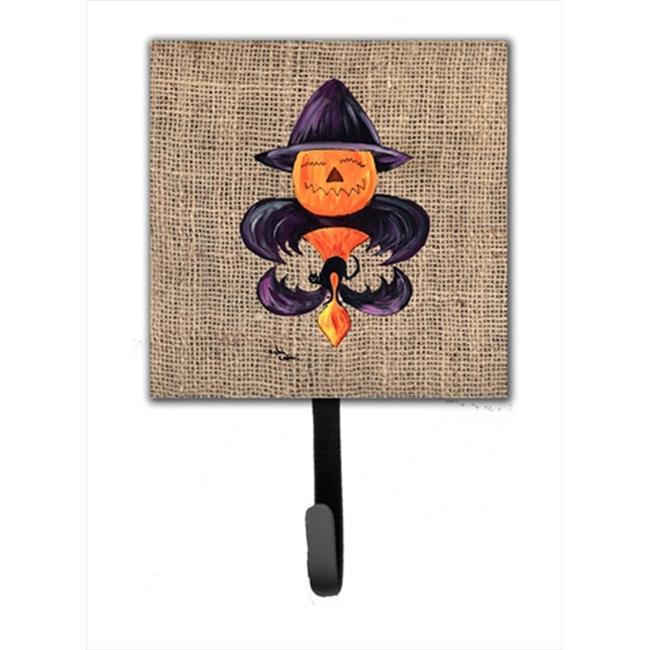 Halloween Pumpkin Bat Fleur de lis Leash Holder Or Key Hook - image 1 of 1