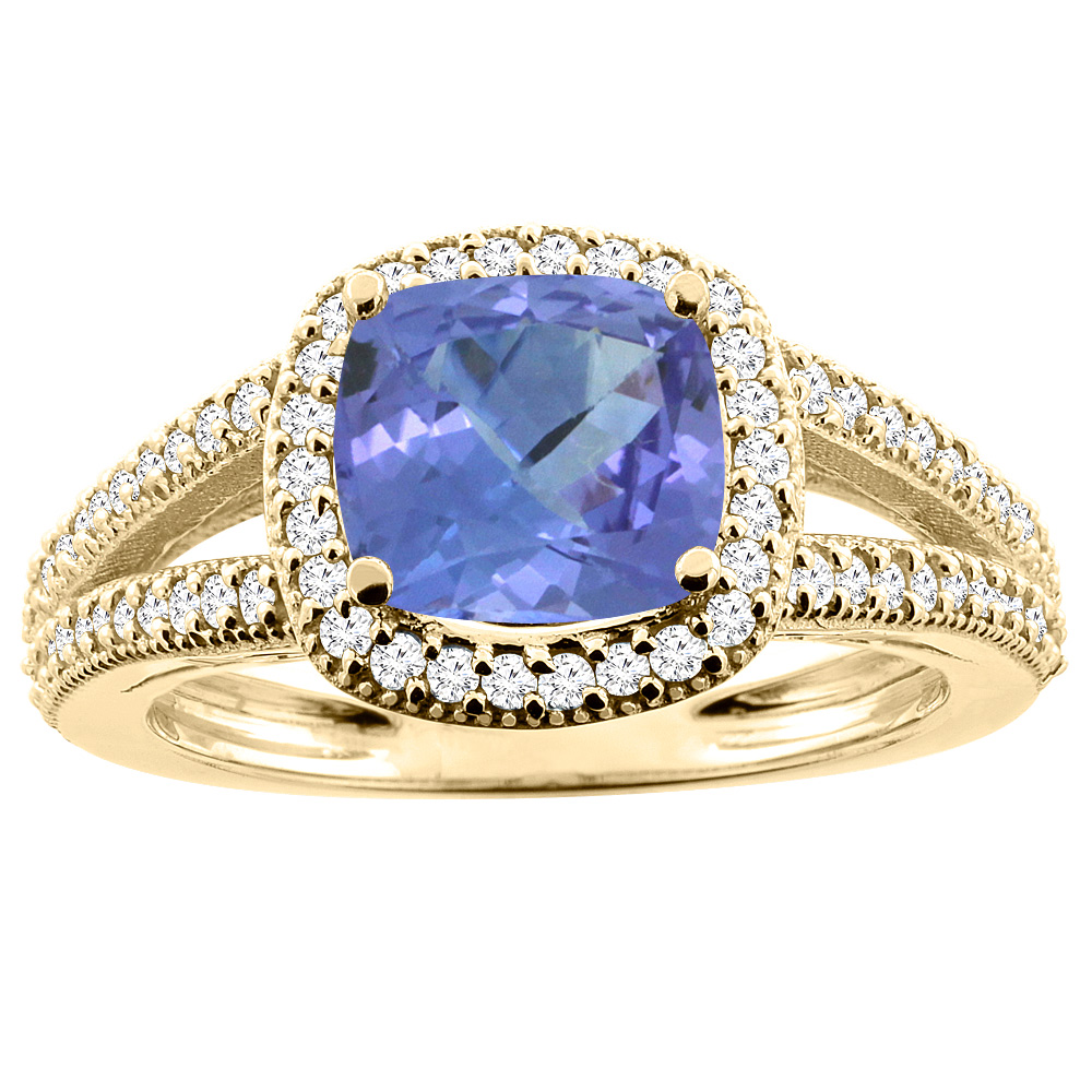 14K Yellow Gold Natural Tanzanite Ring Cushion 7x7mm Diamond Accent 3 8 inch wide, size 5.5 by Gabriella Gold