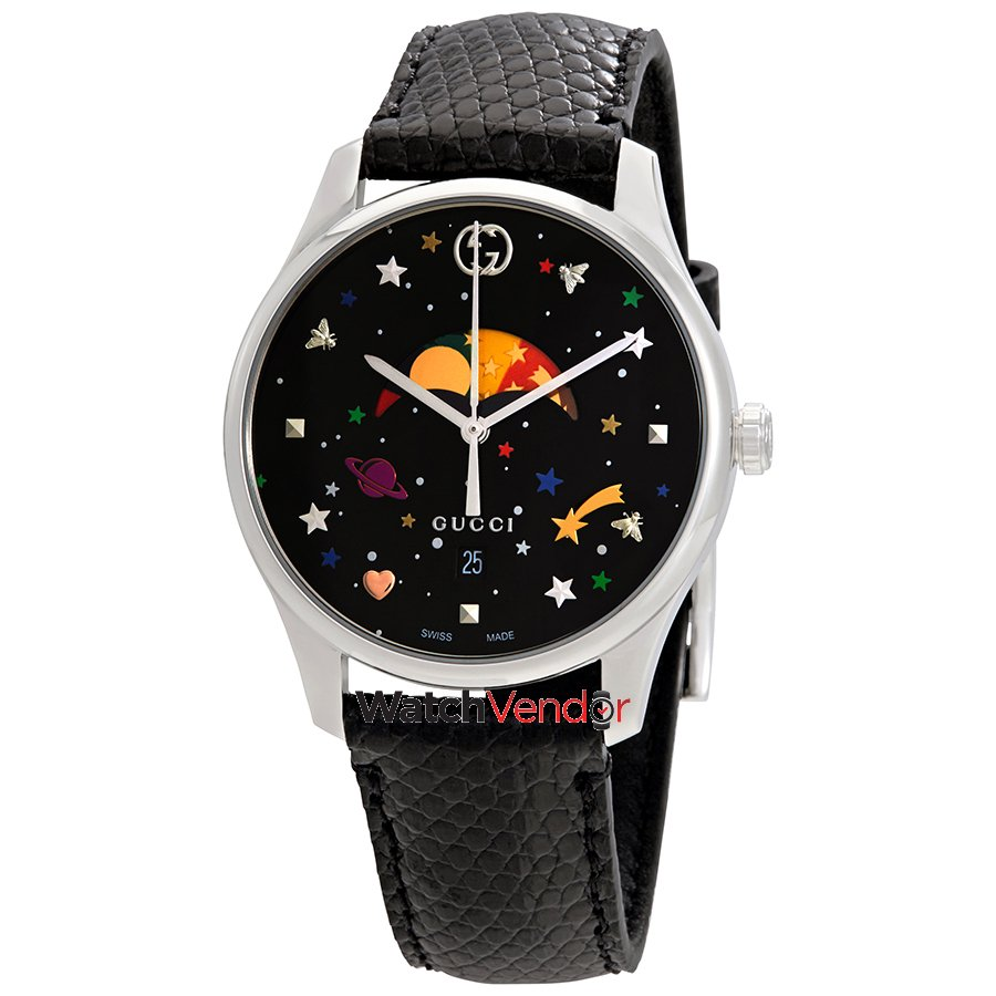 c08c33653ab Gucci G-Timeless Black with Stars   Planet Moonphase Dial Ladies Watch  YA1264045