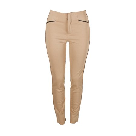 Inc International Concepts Tan Faux-Leather-Trim Short Straight Leg Pants  4S
