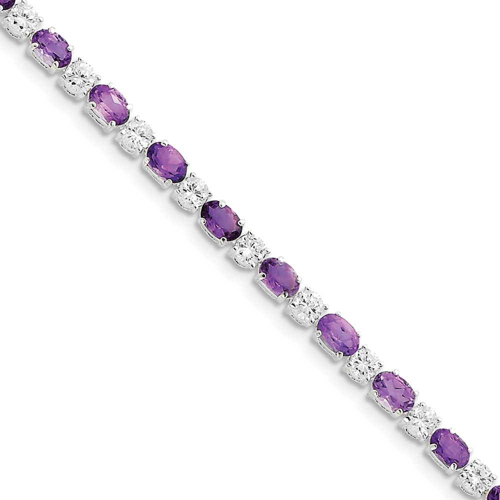 "925 Sterling Silver Simulated Amethyst and Cubic Zirconia Bracelet -7"" (7in x 5mm) by"