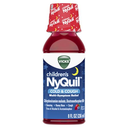 Vicks Children's NyQuil, Nighttime Cold & Cough Multi-Symptom Relief, Relieves Sneezing, Runny Nose, Cough, 8 Fl Oz, Berry