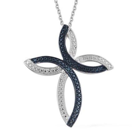 Mix Metal Rhodium Plated Round Blue Diamond Cross Pendant Necklace 20