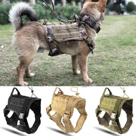 - Military Tactical Training Police K9 Dog Adjustable Harness Nylon Vest for Large Police Dogs Soft(Black)
