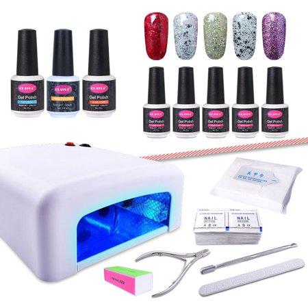 CLAVUZ Gel Nail Polish Set 15pcs Soak Off Nail Lacquer 36W UV Nail Lamp Top Coat and Base Coat New Starter Manicure Nail Art Gift Kit-C012