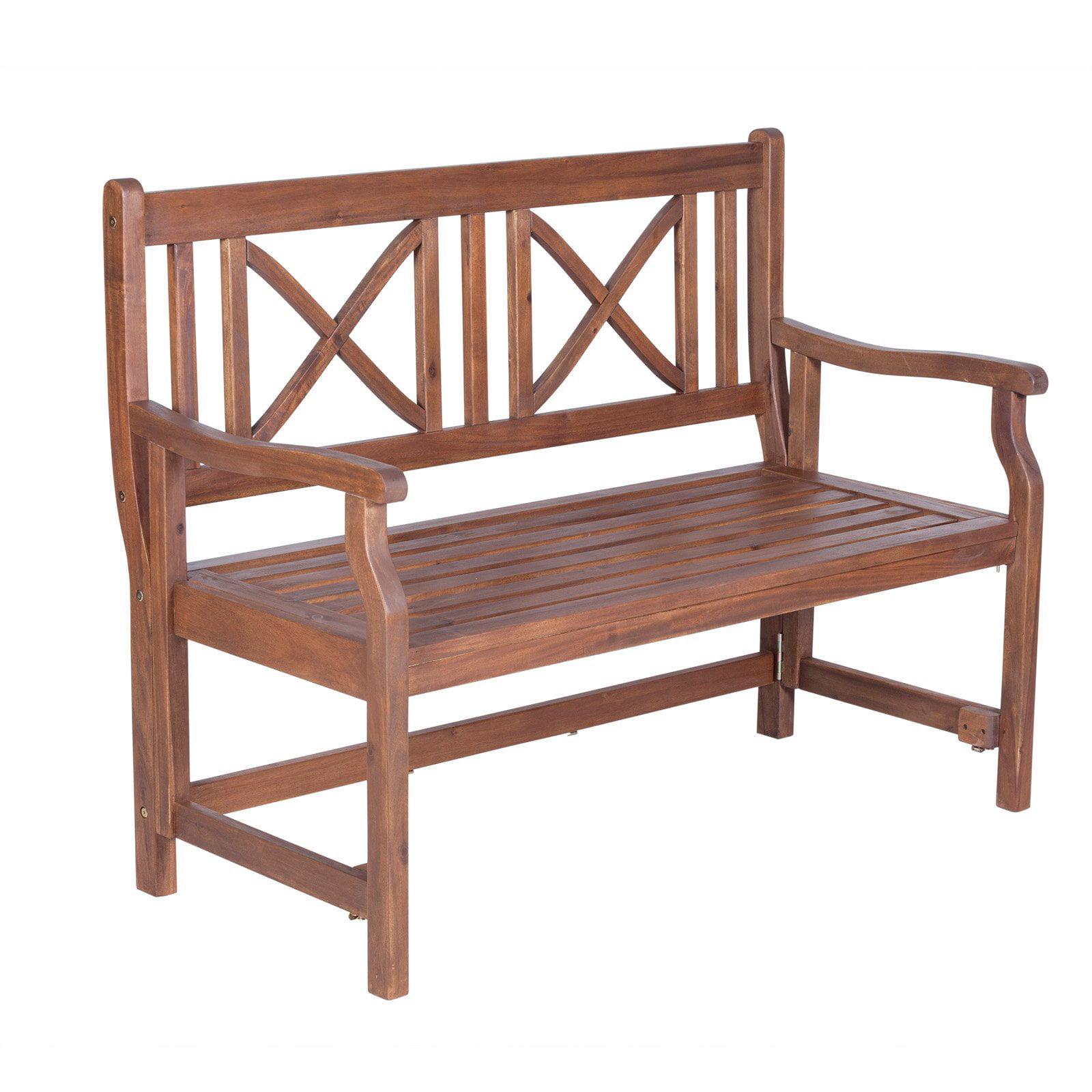 Walker Edison 48 in. Outdoor Acacia Wood Folding Bench by Walker Edison Furniture Company, LLC