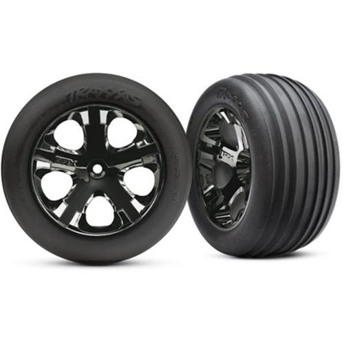 Traxxas TRA3771A Ribbed Tires Mounted On All-Star Electric Front Wheels