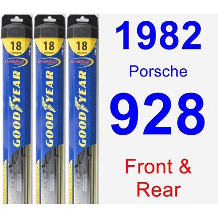 1982 Porsche 928 Wiper Blade Set/Kit (Front & Rear) (3 Blades) -