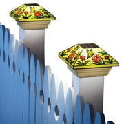Collections Etc Solar Fence Stained Glass Effect Butterfly Post Light Cap, Yellow