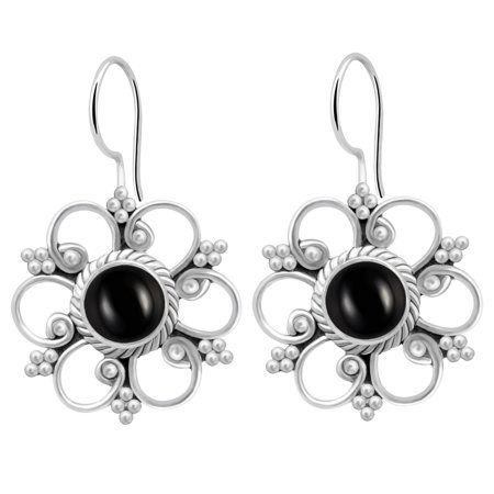 Aquamarine Jewelry - Orchid Jewelry 1 8/9 Carat Black Onyx 925 Sterling Silver Earrings for Womens