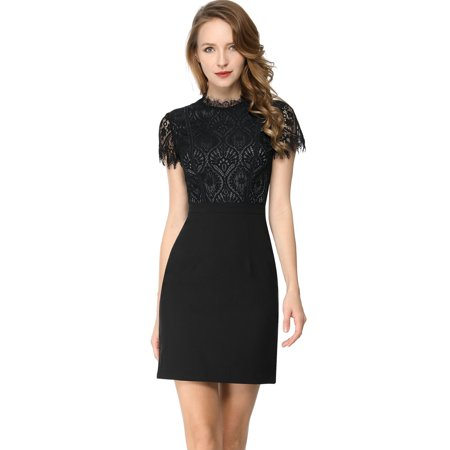Unique Bargains Women's Lace Floral Crew Neck Short Sleeves Elegant Lady Bodycon Mini Sheath Dress (Neckline Short Mini)
