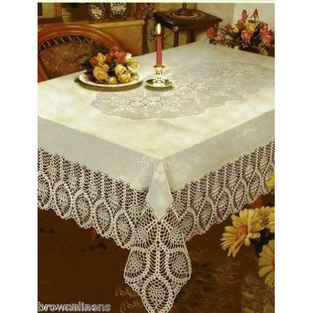 CROCHET LACE VINYL TABLECLOTH, VINTAGE LOOK, 60