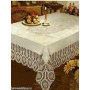 "CROCHET LACE VINYL TABLECLOTH, VINTAGE LOOK, 60"" X 90"" BONE BEIGE"