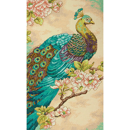 "Dimensions Indian Peacock Counted Cross Stitch Kit, 9"" x 15"", 14 Count"